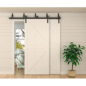 WINSOON 8ft Bypass Barn Door Hardware Sliding Kit 4 16FT For Interior  Exterior Cabinet Closet Doors With Hangers(J Shape Roller)(4 Piece 4 Foot  Rail)