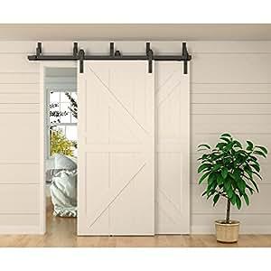Winsoon 12ft bypass barn door hardware sliding kit 4 16ft - Exterior sliding door hardware kits ...