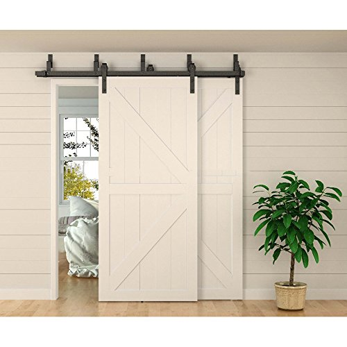 WINSOON 8ft Bypass Barn Door Hardware Sliding Kit 4-16FT for Interior Exterior Cabinet Closet Doors With Hangers(J Shape Roller)(4 Piece 4 Foot (Bypass Door Roller)