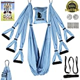 Zenyogi Aerial Yoga Swing – Inversion/Trapeze/Hammock - Ultra Strong Inversion Sling Including Instructional E-book Installation Hardware Adjustable Daisy Chain With Carrying Case (Blue)