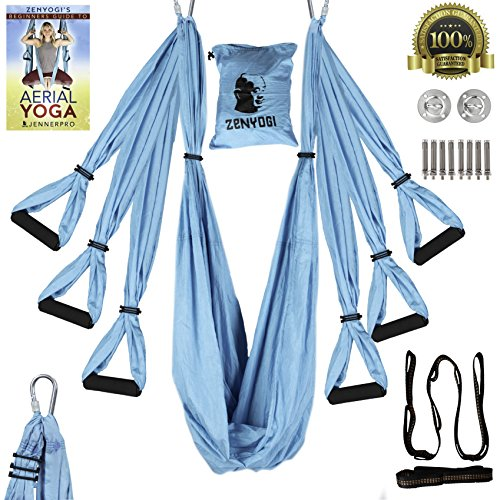Zenyogi Aerial Yoga Swing - Inversion/Trapeze/Hammock - Ultra Strong Inversion Sling Including Instructional E-Book Installation Hardware Adjustable Daisy Chain with Carrying Case