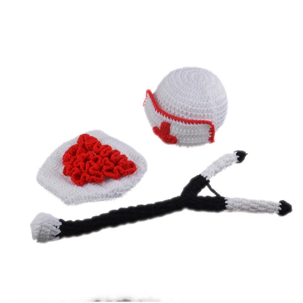 Baby Newborn Photography Prop Handmade Crochet Knit Carton Costume Hat Diaper Outfits for Infant Boy Girl (Nurse)