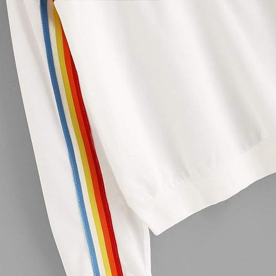 Hosamtel Women Fashion Hoodie Long Sleeve Rainbow Stripe Zipper Casual Sport Short Pullover Sweatshirt Hooded at Amazon Womens Clothing store: