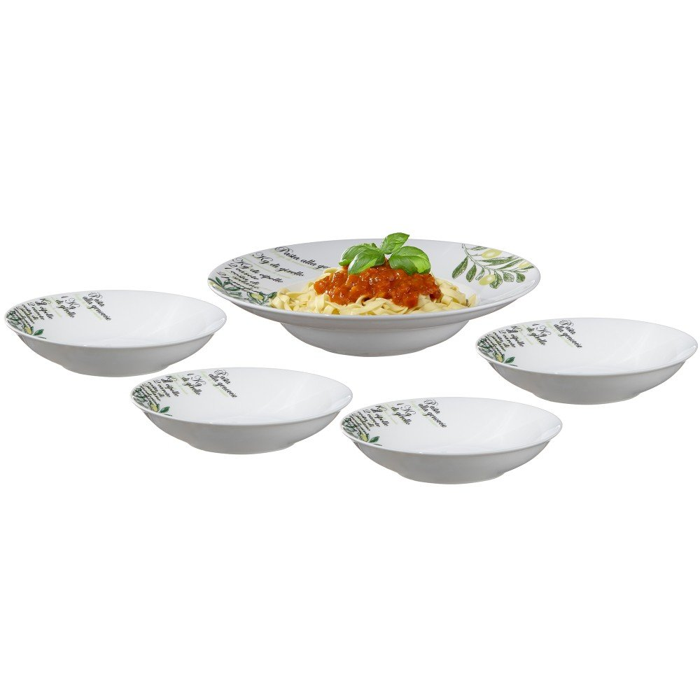 Ouliveiro White Pasta Set with Serving Bowl, by Brilliant