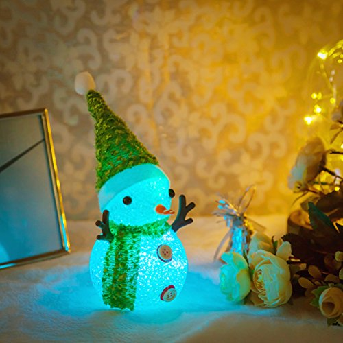 Newest Snowman Kids Night Light Multicolor Bedside Baby Nursery LED Lamp Cute Christmas Gift Room Decor for Women Bedroom Toy Decorations Battery Operated Blinking 7-Color, Grass Green Hat Scarf (Thank You Note After Receiving A Gift)