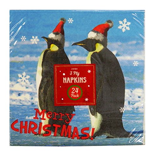 Christmas Printed Paper 3 ply Napkins, Christmas Penguins, Pack of 24 ITP