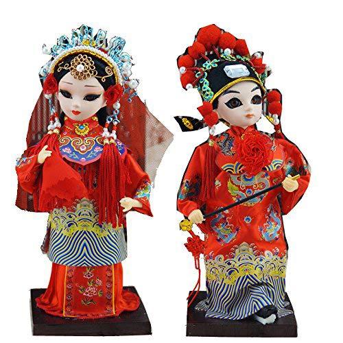 Heartrace 2Pcs 9''/22cm Peking Opera Performer Mini Q Version Figurine Chinese Asian Doll Bridegroom and Bride Wedding Gift ()