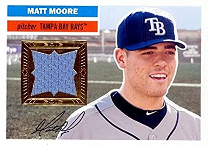 c5590702ee5 Matt Moore player worn jersey patch baseball card (Tampa Bay Rays) 2012  Topps Heritage