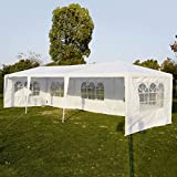 Goplus Outdoor 10' X 30' Canopy Party Wedding Tent Heavy Duty Gazebo Pavilion Cater Events 5 Removable Window Side Walls (White)