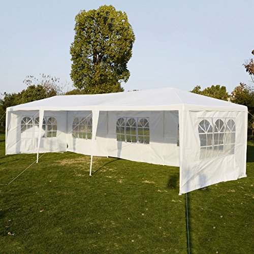 Goplus Outdoor 10′ X 30′ Canopy Party Wedding Tent Heavy Duty Gazebo Pavilion Cater Events 5 Removable Window Side Walls (White)
