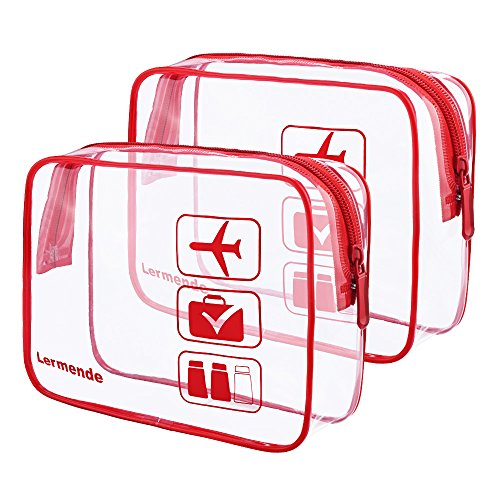 - 2pcs/pack Lermende Clear Toiletry Bag TSA Approved Travel Carry On Airport Airline Compliant Bag Quart Sized 3-1-1 Kit Luggage Pouch (Red)