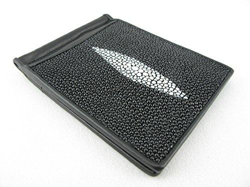 PELGIO Genuine Stingray Skin Money Clip Slim Fold Wallet (Diamond Black)
