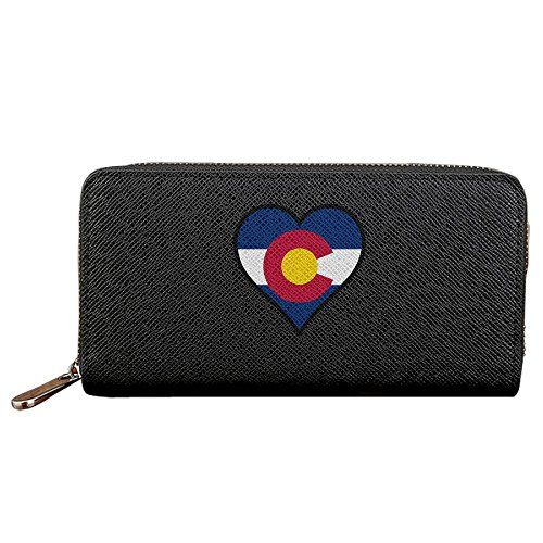Love American Colorado Flag Men's PU Leather Long Zipper Wallet Purse
