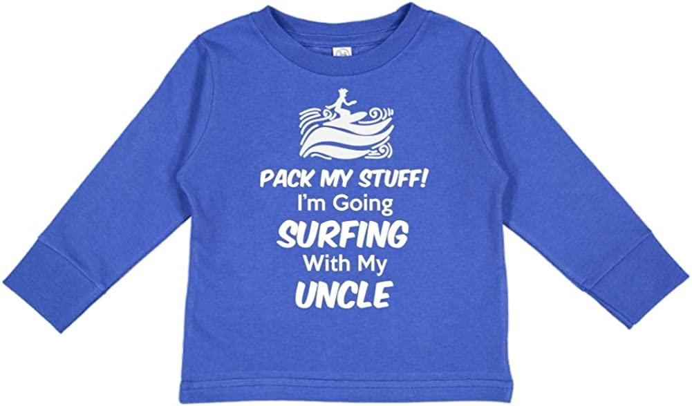 Toddler//Kids Long Sleeve T-Shirt Im Going Surfing with My Uncle Pack My Stuff