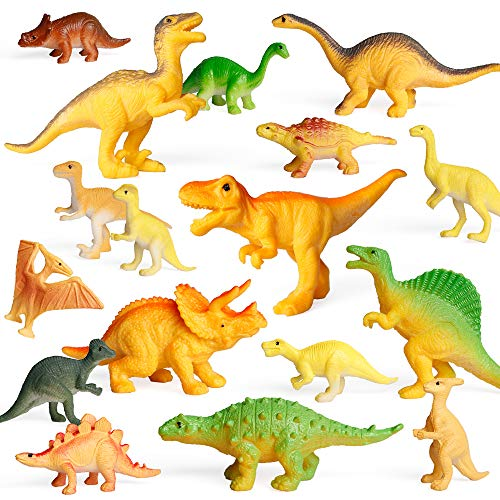 Coogam 18PCS Realistic Dinosaur Toy Play Set Assorted Plastic Small Dino Figures Cake Toppers Birthday Party Favors Figurines Games Educational Displays Gift Decoration for Boy Girl Kids Toddler ( 2