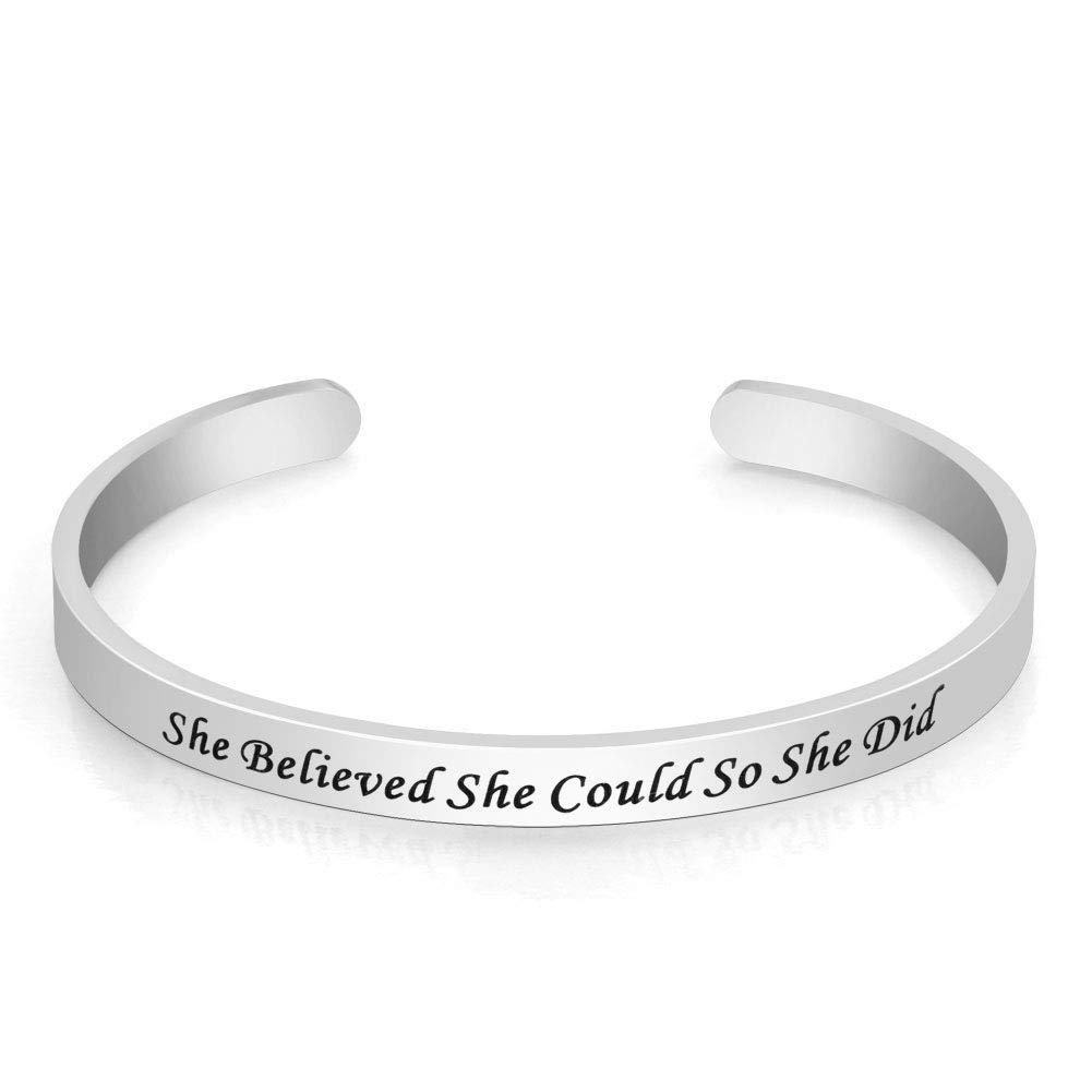 JewelryJo Encouragement Inspirational Quotes Cuff Bracelets Bangles Gifts for Women Young Friends Sisters
