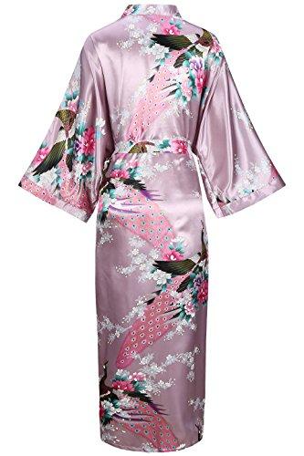 ArtiDeco Vestido Kimono Pijama de Seda Novia Kimono de Seda Ropa de dormir de Satén Estampado Pavo Real Morado