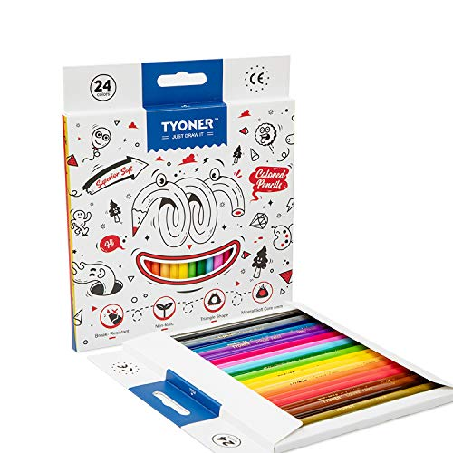 Colored Pencils Set, 24 Colors with Color Names, Triangular shaped, Pre sharpened, Soft Wax-Based Cores, Vibrant Artist Pencils
