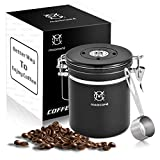 Magicafé Airtight Coffee Container Canister - co2 Valve Airscape Coffee Bean Grounds Storage Container Medium Black 16oz