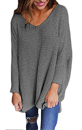 Zhhyltt Chandail Women's Long Sleeve V-Neck Loose Top Jumper Pullovers Oversized Knitted Sweater Grey