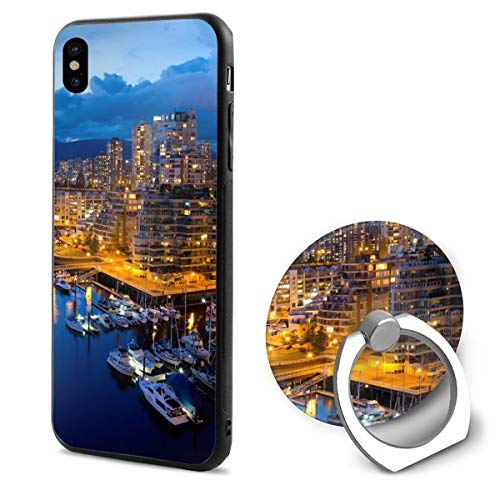 HufdDS462DS City Night Vancouver Canada Sunset iPhone X Case iPhone X Cover Ring Bracket Holder]()
