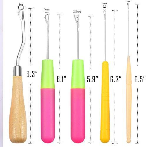 Opount 5 Pieces 5 Different Size Bent Latch Hook Crochet Needle Hook