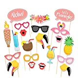 Tinksky Hawaii Themed Summer Party Photo Booth Props Kit DIY Luau Party Supplies for Holiday,Wedding,Kids Birthdays,Beach parties,Summer Festivals,Pool parties-21pcs