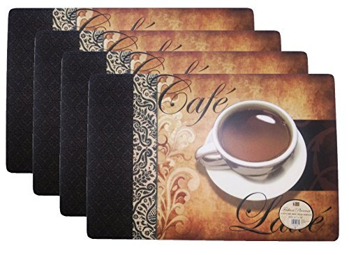 Set of 4 Coffee Pattern Fashion Placemats Durable Foam Backing Ease Care Wipe Clean Table Place Mat Set 12