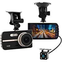 Super HD 1080P Front + VGA Rear 290° Super Wide Angle Car Dash Cam with 4 Large HD Screen, G-Sensor, Loop Recording, Parking Mode, Super Night Version etc.