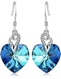 Sterling Silver Love Heart Dangle Drop Earrings with...