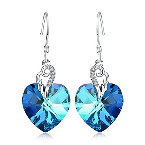 925 Sterling Silver Love Heart French Hook Drop Dangle Earrings Jewelry with Blue Swarovski Crystals ()
