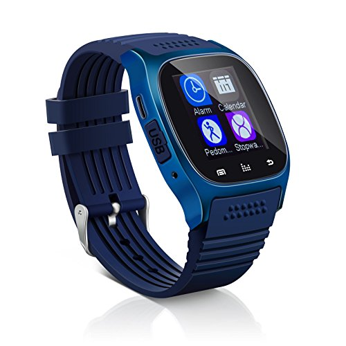 Bluetooth Smart Wrist Watch + Earphone For IOS Android iPhone Samsung HTC Huawei (dark blue)