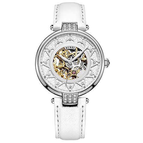 BUREI Women's Automatic Watch with Silver Gold Sapphire Lens and Genuine White Leather (Automatic Leather Ladies Watch)
