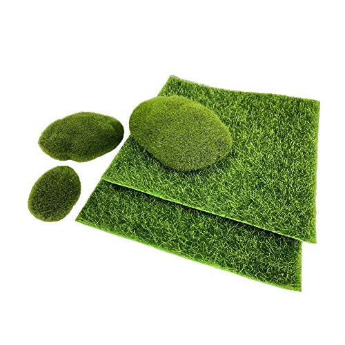 Artificial Garden Grass Moss Rocks - Fairy Fake Grass Lawn Faux Stones for Miniature Ornaments Garden Dollhouse Indoor Outdoor Home Décor (Spanish What Is Patio In)