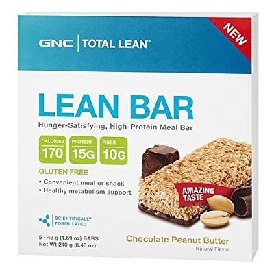 GNC Total Lean Lean Bar Chocolate Peanut Butter 5 bars