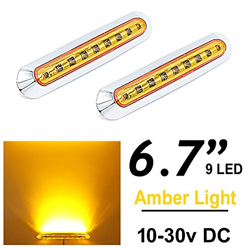 2pcs LEDVILLAGE Multi-Voltage 10v - 30v DC Amber LED Sealed Light Clearance Universal Side Marker Light Trailer Truck with 9 LEDs + Chrome Rings
