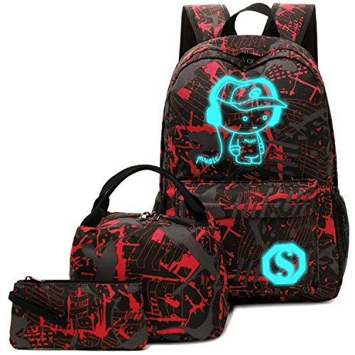 BLUBOON School Backpack for Boys Teens Bookbag Travel Daypack Kids Girls Lunch Bag Pencil Case
