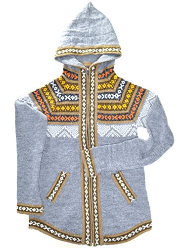 Gamboa Gray Cardigan Alpaca Hooded (Alpaca Wool Sweater)