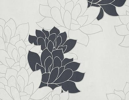 Paper Contemporary With Black Camellias On White Background