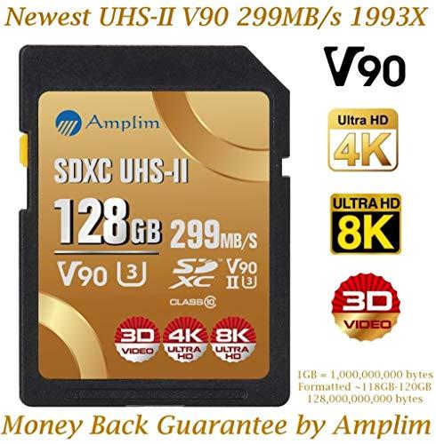 128GB V90 UHS-II SDXC SD Card – Amplim Blazing Fast 299MB/S (1993X) UHSII U3 C10 Extreme Pro Speed 128 GB / 128G SD XC Memory Card. Professional 4K 8K Video Camera TF Flash Storage Card – New 2019