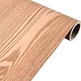 Wood Grain Furniture Self Adhesive Stickers PVC Wallpaper cabinets Gloss Film Vinyl Counter Top Decal 15.6inch by 78inch (Red Curved Wood)