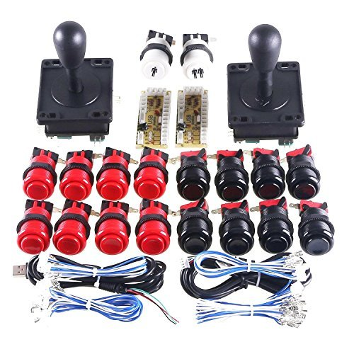 WINIT Arcade Button and Joystick Kit Game DIY Replacement Parts for Mame USB Cabinet 2x Zero Delay USB Encoder / 2x 8 Way Arcade Joystick / 18x Happ Push Button - Black + Red Color Kits ()