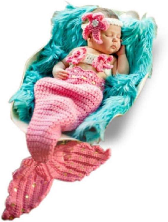 Disfraz de sirena, para recién nacido, para niña/niño, de punto de ganchillo, para fotografía, sombreros de utilería (rosa claro)