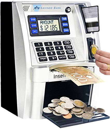 FSMY Canadian Dollars ATM Savings Piggy Money Bank Machine with Coins Identification for Kids,Electronic Digital Coin Bank Box with Code Password Lock
