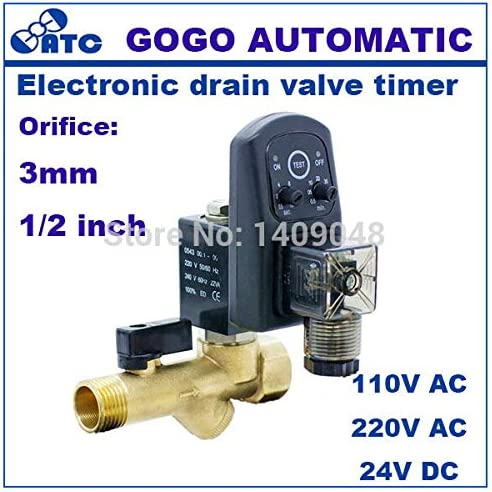 Electric Automatic Drain Timer Solenoid Valve Water Controller Valve Brass 220V