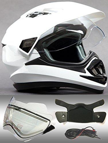 Snowmobile Shield (Dual Sport Snocross Snowmobile Helmet w/ Electric Heated Shield - Gloss White - XL)