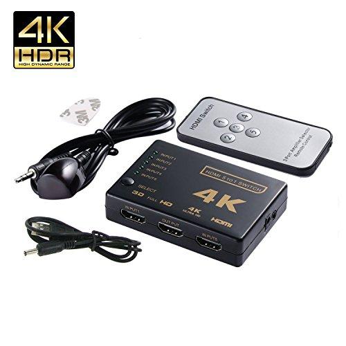 HDMI Switch 4K Intelligent 5-Port HDMI Switch, 5 in 1 out HDMI Switcher HDMI Splitter with IR Wireless (Sky Digital Remote)