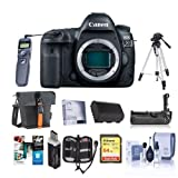 Canon EOS 5D Mark IV Digital SLR Camera Body USA Warranty - Bundle with 64GB U3 SDHC Card, Holster Case, Tripod, Spare Battery, Battery Grip, Screen Protector, Software Package, And more