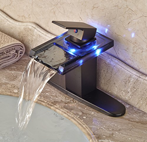 Waterfall Two Light (Rozin LED Light Glass Spout Waterfall Bathroom Sink Faucet with 8