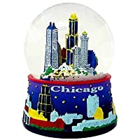 Chicago Snow Globe - 65MM Blue, Chicago Snow Globes, Chicago Souvenirs